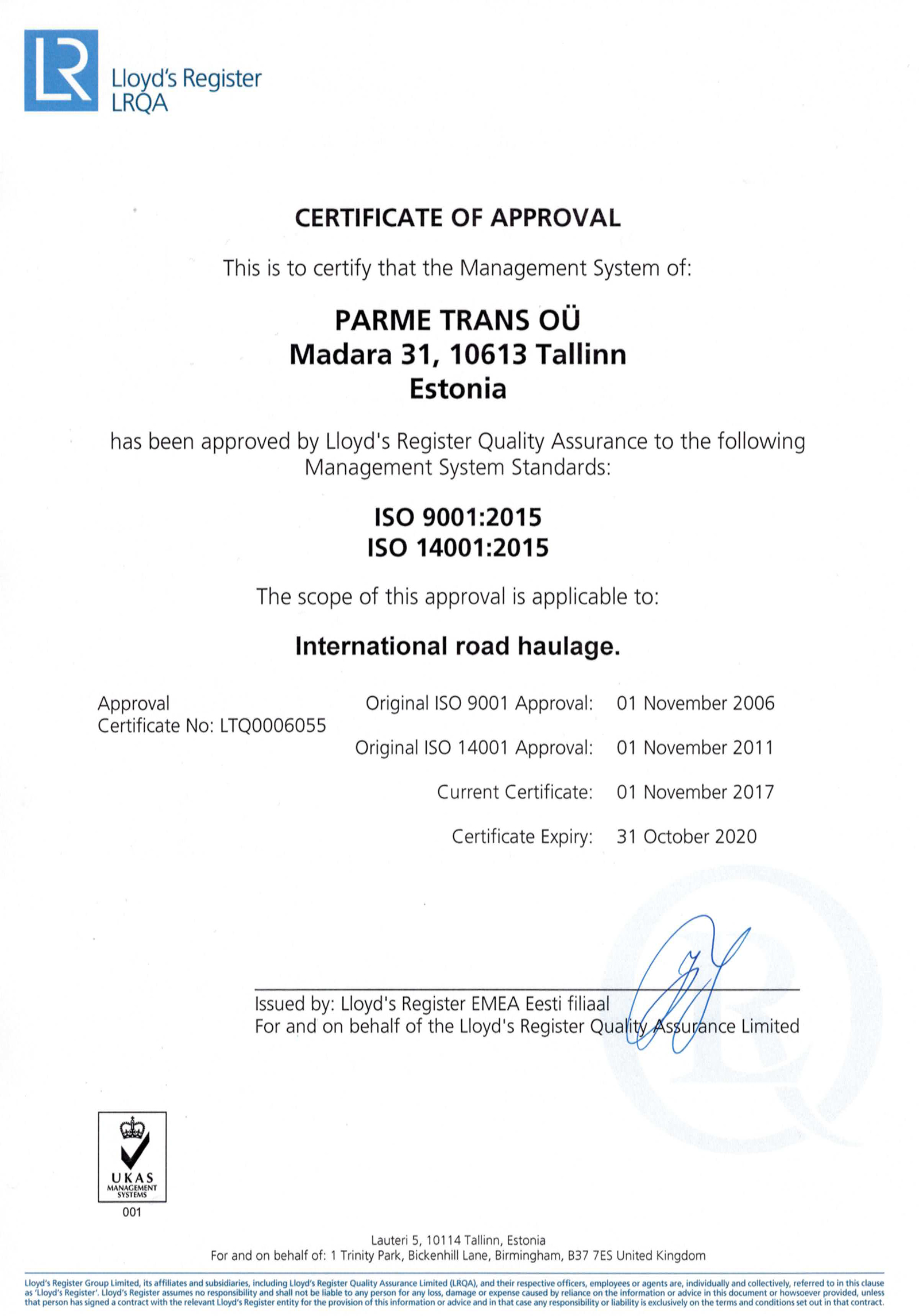 Parme_Trans_certificate_2017